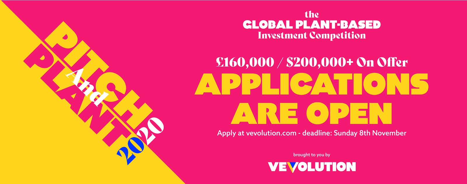 Vevolution Gather Leading Plant Based Investors To Invest £160,000+($200,000+ / €175,000+) Through First Global Edition of Plant Based Investment Competition Pitch Plant